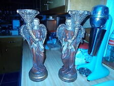 """m a c sculptures wooden angles candle holder 17"""" heavy"""