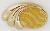 Vintage Gold Tone Metal Belt Buckle Cinch Buckle Lemon Yellow Wave Enamel