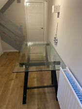 GLASS AND HIGH GLOSS BLACK WOOD SMALL DINING TABLE/DESK
