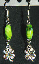 Handmade Green Glass Silver Clover Shamrock St Patrick's Day Dangle Earrings