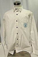 Disney Mickey Mouse Shirt Men's Size XL White Long Sleeve Crest Button Down