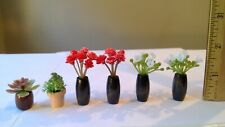 New ListingDollhouse miniature plants flowers in wooden vases