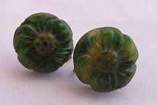 Vintage Green Marbled Bakelite Deeply Carved Flower Earrings