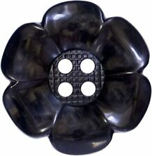 4 GIANT BLACK 63mm LARGE FLOWER BUTTONS 60s 70s PSYCHEDELIC VINTAGE FANCY DRESS
