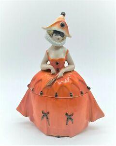 VINTAGE ART DECO PORCELAIN POWDER BOX LADY HARLEQUIN GERMANY