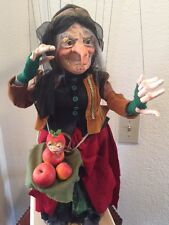 """LARGE EUROPEAN MARIONETTE """"WITCH & FRIENDLY FAMILIAR"""", HAND MADE"""
