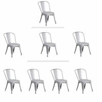 Tolix Silver Metal Stacking Dining Chair Commercial Quality 1-4 Unit Discounts