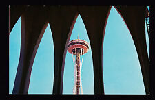 1962 Space Needle framed by Gothic Arch Seattle World's Fair exposition postcard