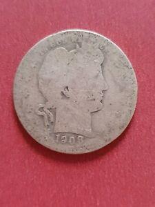 1908 USA Barber Quarter Dollar 900 Silver