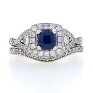White Gold Sapphire Diamond Halo Engagement Ring Wedding Band 14k Cushion 1.51ct