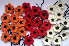 30 Handmade Poppy Crochet Flowers 4cm. Red, Orange, Cream with black centres