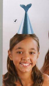 """Mermaid Birthday Party Hats Set of 4 Green Glittery Sparkly 8"""" Flomo Favors NEW"""