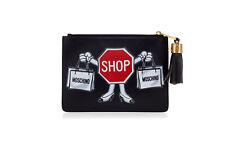 MOSCHINO Women Purse Clutch Bag With Tassel SHOP Black Leather Handbag Gold Zip