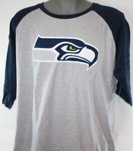 NEW Womens NFL Team Apparel Seattle Seahawks Grey Raglan Football Shirt