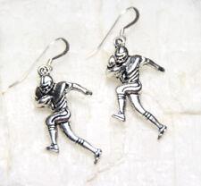 "Football Player Charm pewter Earrings 925 sterling silver Hooks 1 1/2"" Athlete"