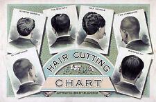 1884 Hair Cutting Chart Haircut Barber Shop Salon Wall Art Vintage Decor Poster