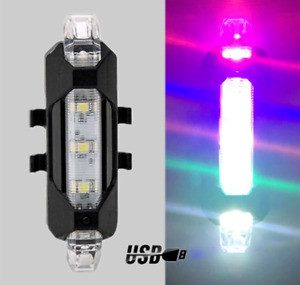USB Rechargeable Scooter Bike Lights Hazard Waterproof 5 LED Mix Colour Light