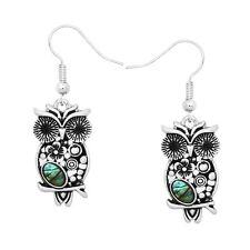 Owl Earrings Flower Filigree Abalone Shell Metal Drop Dangle SILVER Tree Jewelry