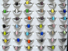 30PCS Wholesale Multi-Color Mixed Lot Vintage Cat Eyes Gemstone Silver Rings