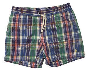Polo Ralph Lauren Men's Mesh Lined Plaid Swim Trunks Shorts Size Small
