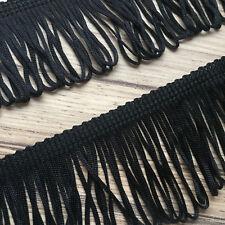 """LLOPED DRESS FRINGE BLACK SILKY 2"""" (50mm) QUALITY FRINGING PER METRE"""
