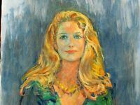 Eva Sikorski, 1917-1990, CA well known artist, oil/canvas 48 x 24
