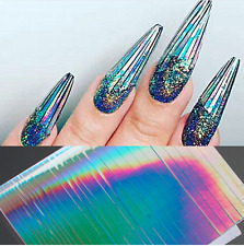 Holo Laser Nail Art Stickers Silver Stripe Line Nail Strip Tape Foil Decal Decor