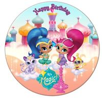 Shimmer and Shine Cake Topper Birthday Personalised Round Pre-Cut Sitting