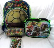 "Ninja Turtles Large 16"" Backpack Shell Pocket,Lunchbox,Pencil Case,&Stationary-1"