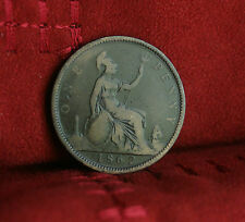 1862 Great Britain 1 Penny Bronze World Coin Britania Seated UK England English
