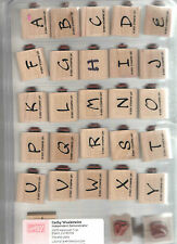 Stampin'Up! Wood Mount Brushstroke Alphabet Set Rubber on Wood with box 28 stamp