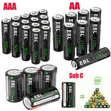 Ebl Lot Aa Aaa Sub C Sc Cell Rechargeable Batteries Ni-Cd 500mAh 1100mAh 2300mAh