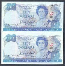 New Zealand 1990 $10 Note Uncut Pair AAA Series (UNC) AAA 050032 / 053032