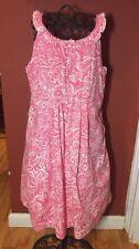 Lands' End Girls Sz. 7 Pink & White Floral Woven Spring Summer Dress
