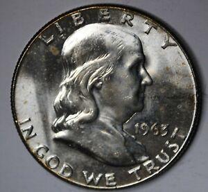 Uncirculated 1963 Philadelphia Mint Silver Franklin Half (((X334