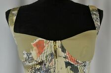 New Roberto Cavalli Zippered Corset Tank Sz Large Floral Lolita Silk Party Italy