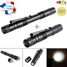 2 Lampes de poche 1000 lumens Crayon Stylo Mini Torche Led Etanche Format Pocket