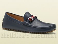 GUCCI men 10G* Blue Pebbled DAMO Horsebit WEB Driving Moccasin shoes NIB Authent