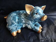 More details for glazed paper mache pig figurine blue floral shabby cottage chic 10 cm tall