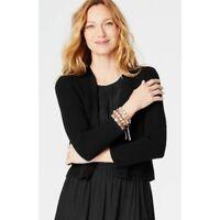 J Jill Women's Size XS Petite Black Bolero Cropped Cardigan Sweater Open Front