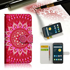 HOT PINK AZTEC TRIBAL Wallet Case For Telstra Optus Alcatel Pixi 3 4.5 -- A004
