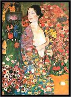 Gustav Klimt Die Tänzerin Poster Kunstdruck mit Alu Rahmen in schwarz 80x60cm