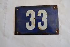 Vintage blue Czechoslov. house Number 33 Door Gate Plate Enamel Metal Sign c1950