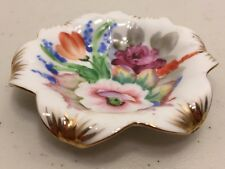 "Vintage Occupied Japan Small 3"" Trinket or Teabag Dish Hand Painted Floral"