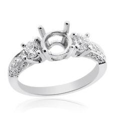 0.85 Carat Round Diamond Three Stone Engagement Mounting 14K White Gold