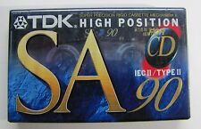 TDK SA-90 EA Vintage High Position Sealed Blank Audio Cassette Analog Tape II