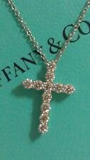 "Tiffany & Co Platinum Small Cross 0.42ct Diamond 16.5"" Pendant Necklace"