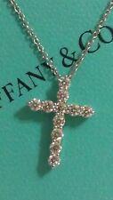 "Tiffany & Co Platinum Small Cross 0.42ct Diamond 16.5"" Pendant Necklace"
