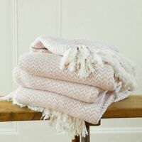 L & XL  Blush Cotton Traditional Safi Blanket Home Chair / Sofa / Bed Throws