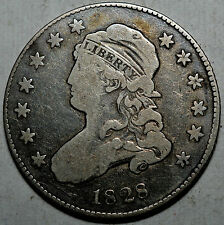 1828 CAPPED BUST QUARTER-.892 SILVER-KM 44-FINE+ FREE USA SHIP